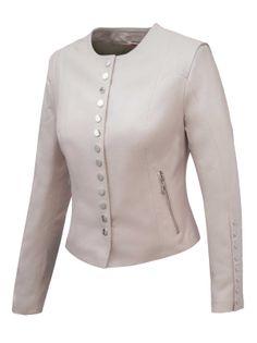 ALEXANDRA MILANO ETNA Beżowa kurtka ze skóry jagnięcej typu chanelka ze srebrnymi napami. 42 IT