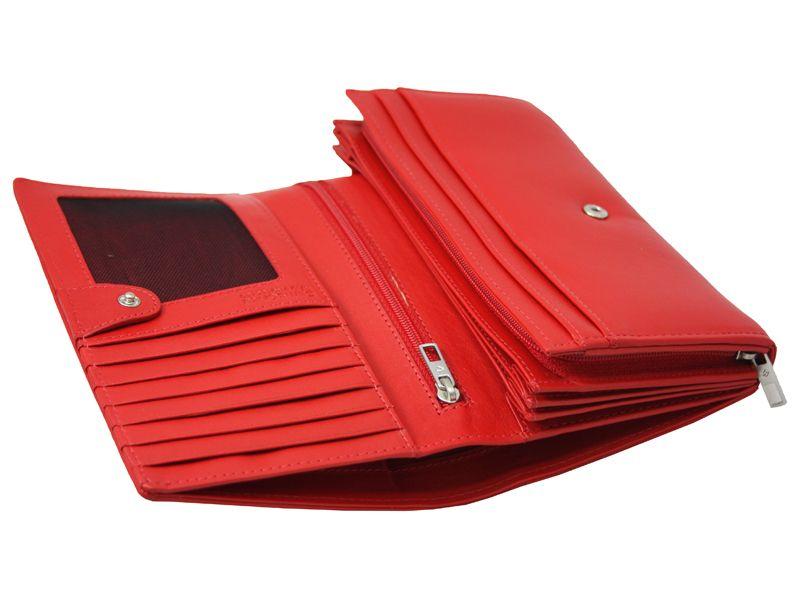 Skórzany, czerwony portfel damski Samsonite RFID zdjęcie 4