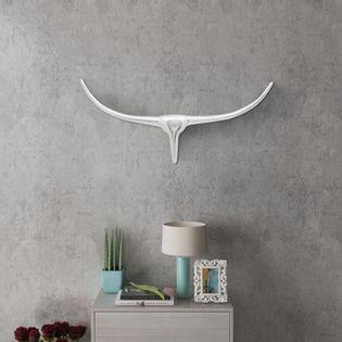 Lumarko Srebrna ozdoba ściany bycze rogi z aluminium 75 cm