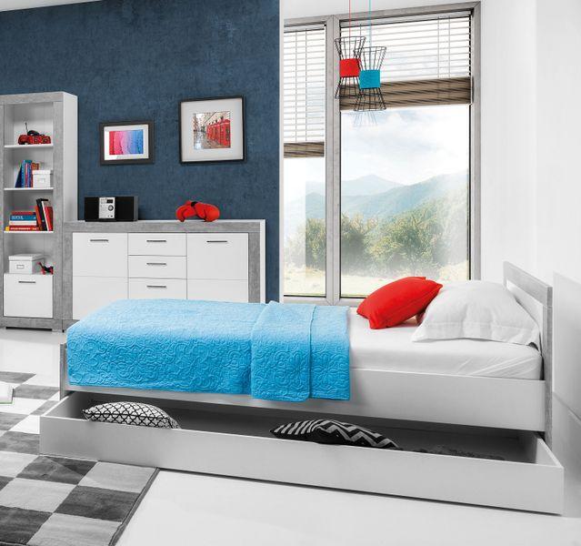Nowoczesne Szare łóżko 90x200 Z Pojemnikiem Twins Młodzieżowe