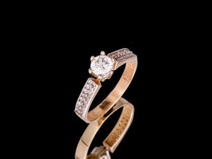 P682 Złoty pierścionek z cyrkoniami. Zaręczynowy. 585