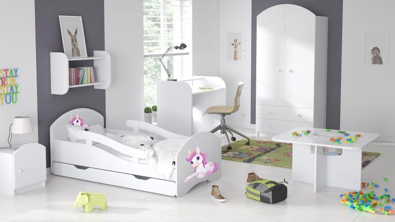 Łóżko dziecięce łóżeczko 140x70 białe szuflada materac dla dziecka zdjęcie 5