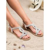 Zamszowe Sandały Z Kryształkami r.36 zdjęcie 3