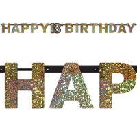 BANER urodzinowy 18 URODZINY happy BIRTHDAY złoty