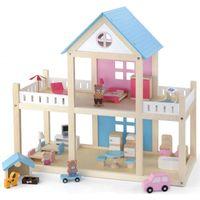 VIGA Drewniany domek dla lalek 4 figurki mebelki