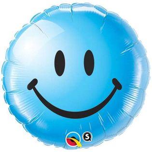 "Balon foliowy ""Smile"", niebieski, QUALATEX, 18"" RND"