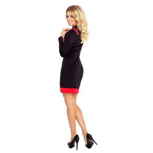 e163a1b4cf JUSTYNA sukienka z trzema zamkami - CZARNA + czerwone zamki S • Arena.pl