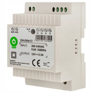 Zasilacz do taśm LED na szynę DIN 2,5A 30W 12V