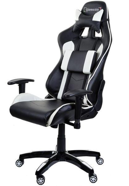Fotel biurowy GIOSEDIO czarno-biały,model GSA042 zdjęcie 4
