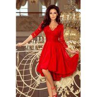 NICOLLE - sukienka z dłuższym tyłem z koronkowym dekoltem - CZERWONA S