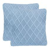 2 poduszki, bawełna o grubym splocie, 45x45 cm, jasnoniebieskie