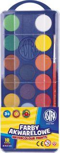Farby akwarelowe 23,5 mm ASTRA 18 kolorów + pędzel