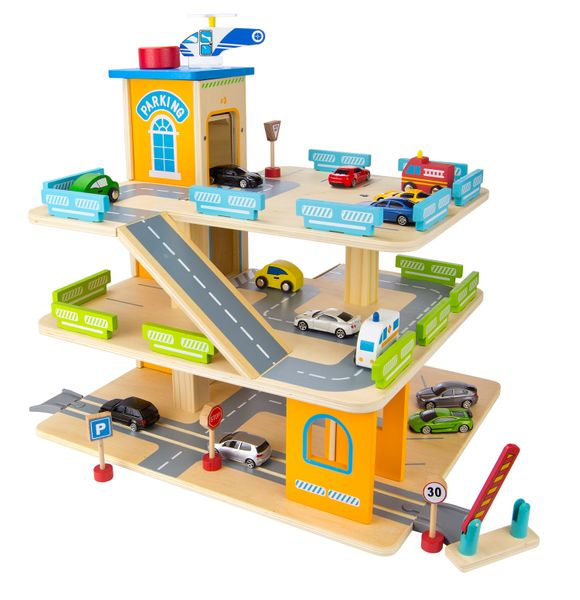 Zestaw Promocyjny Drewniany Parking Garaż Samochody