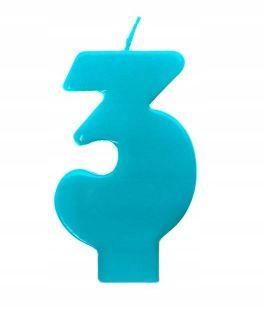 Świeczka cyfra 3 niebieska na tort dla chłopca