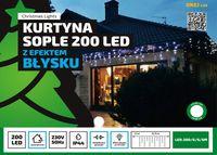 Kurtyna Sople LED 8,75 m • 200 LED • z efektem FLASH • zewnętrzne lampki choinkowe NR 1776 Zimny biały (błyska zimny biały)