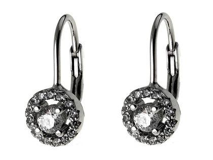 Eleganckie rodowane klasyczne srebrne wiszące kolczyki kółka circle białe cyrkonie srebro 925 K2013