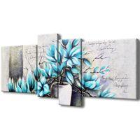 Obraz Drukowany 120X55 Magnolie W Niebieskich Kolo
