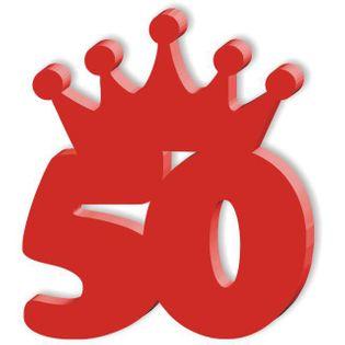 """Kotylion """"Urodziny 50"""", czerwony"""