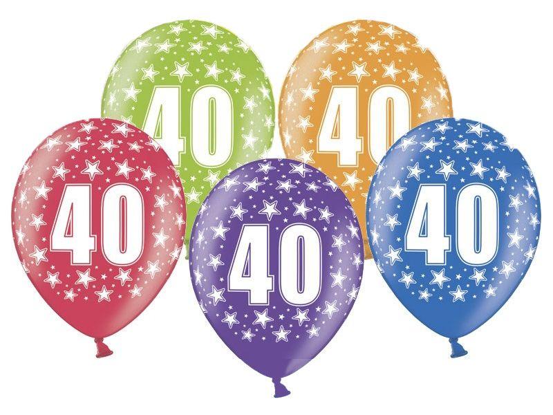 Balon z nadrukiem w cyferki 40 urodziny, 34cm zdjęcie 1