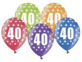Balon z nadrukiem w cyferki 40 urodziny, 34cm