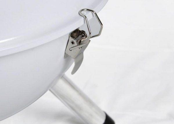 Grill ogrodowy węglowy okrągły, mini grill bbq kolor biały zdjęcie 4