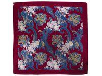 Bordowa poszetka w niebiesko-fioletowy wzór floral E225