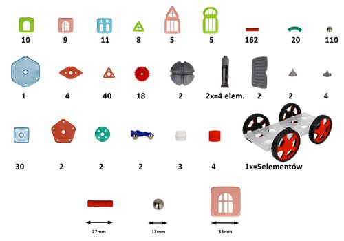 Klocki konstrukcyjne magnetyczne Neodymowe MAGNETIC 458el RÓŻOWE Z204R na Arena.pl