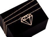 Złota celebrytka diament, ażurowy brylant 585