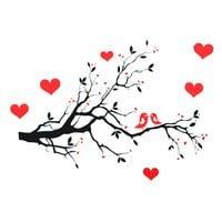 Naklejki na ścianę ścienne Drzewo, Serca WS-0115