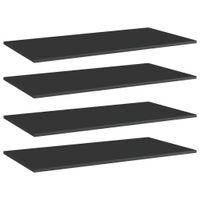 Lumarko Półki na książki, 4 szt., wysoki połysk, czarne, 100x50x1,5 cm