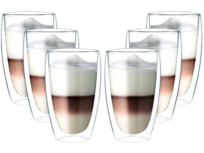 Szklanki z Podwójną Ścianką do Kawy Latte Herbaty 380ml 6 sztuk