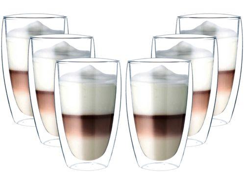 Szklanki z Podwójną Ścianką do Kawy Latte Herbaty 380ml 6 sztuk na Arena.pl