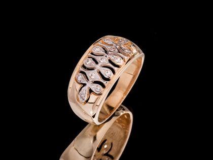 P527 Złoty pierścionek ażurowy z cyrkoniami 333