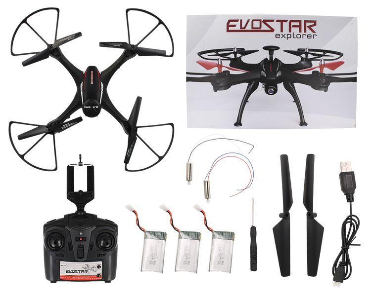 DRON EVOSTAR Explorer RQ77-14W z Kamerą WiFi 6Axis 3Aku Czarny Z25C zdjęcie 1