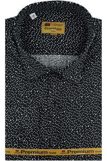 Koszula Męska Redpolo czarna we wzorki na długi rękaw w kroju SLIM FIT A419 XL 44 182/188
