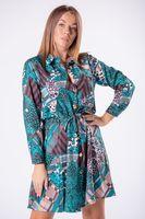 Sukienka szmizjerka ze ściągaczem w pasie i podpinanymi rękawami - Multikolor U