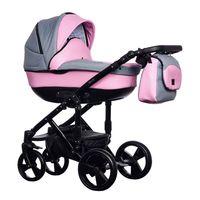 New Melody Paradise Baby różowo szary wózek dziecięcy wielofunkcyjny gondola + stelaż