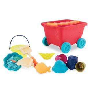 Wózek-wagon z akcesoriami plażowymi czerwony transparentny B.Toys