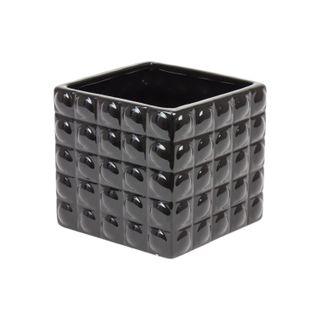 Doniczka Ceramiczna osłonka 18x15 kwadrat czarny nowoczesna