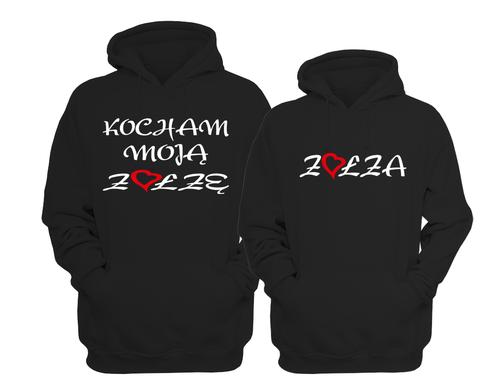 BLUZY DLA PAR z kapturem KOCHAM MOJĄ ZOŁZĘ 2szt. na Arena.pl
