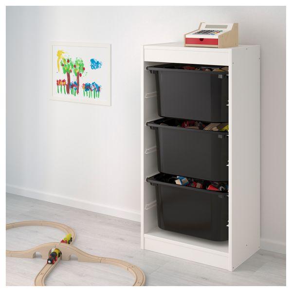 Ikea Trofast Regał Na Zabawki 3 Pojemniki Białyczarny