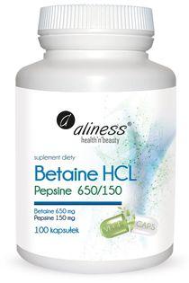 Betaine HCL, Pepsyna 650/150 mg x 100 kapsułek Aliness