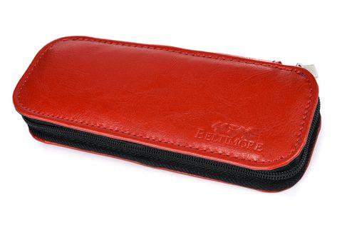 ETUI skórzane piórnik na długopisy płaskie J002 czerwone