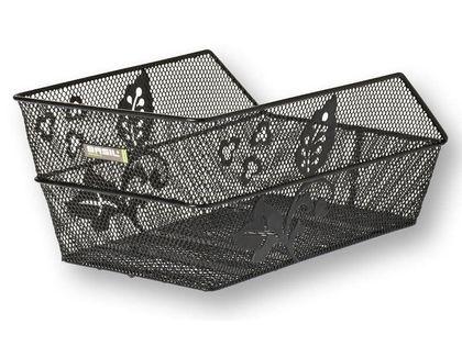 Kosz na tylny bagażnik BASIL CENTO FLOWER + Mounting set for CENTO basket, stalowy czarny