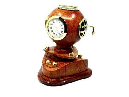 Mały dekoracyjny hełm nurka retro z zegarem NC1220