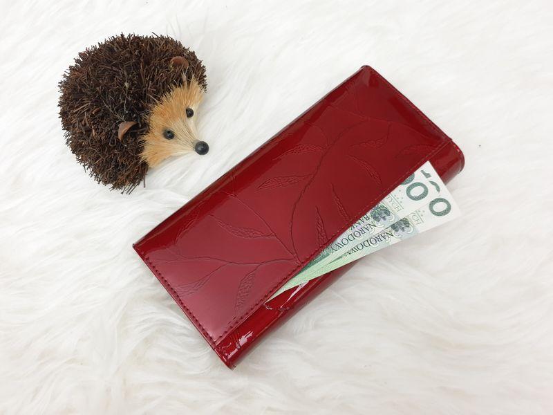 ROVICKY portfel skórzany damski lakierowany liście RFID P090 czerwony zdjęcie 4