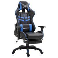 Fotel z podnóżkiem niebieski sztuczna skóra VidaXL