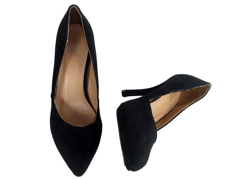 Czarne szpilki zamszowe buty damskie  37 zdjęcie 2
