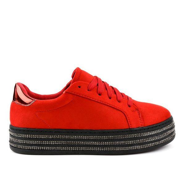 Czerwone trampki zdobione damskie G280 r.40