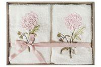 Zestaw Ręczników Biały Kwiaty 2 Sztuki Prezent
